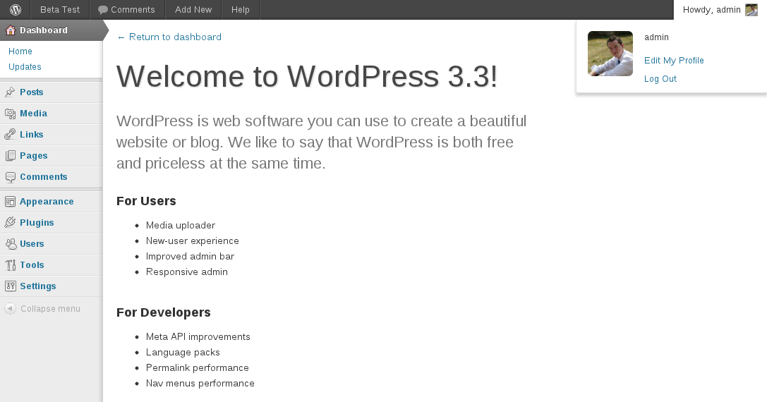 First-look at WordPress 3.3 Beta